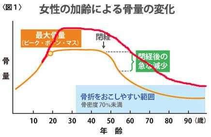 女性の加齢による骨量の変化図