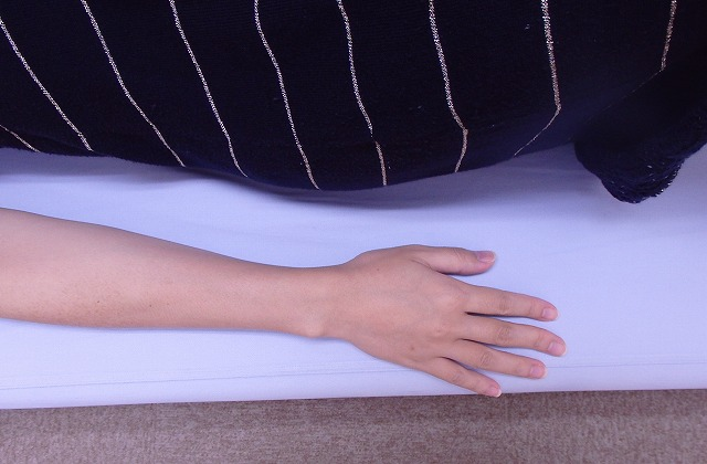 両手はカラダの横、手のひらは下に